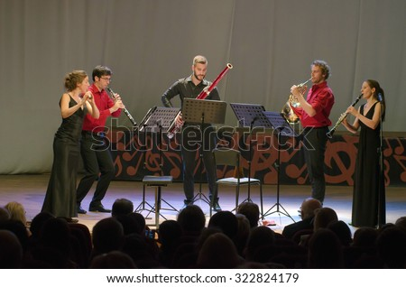 DNIPROPETROVSK, UKRAINE - SEPTEMBER 25, 2015: Members of the woodwind quintet PentAnemos perform at the Philharmonic