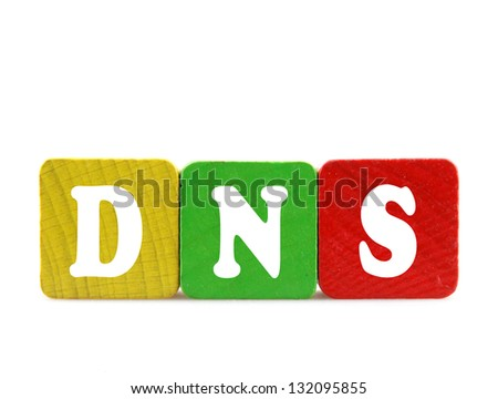 dns - isolated text in wooden building blocks - stock photo