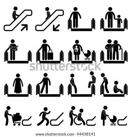 Do and Don't Escalator Safety Guideline Sign Symbol Icon Pictogram - stock photo
