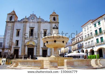 Do Giraldo square, Evora in Portugal  - stock photo