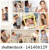 Do it yourself, happy young couple working building new home. Image mosaic. - stock photo