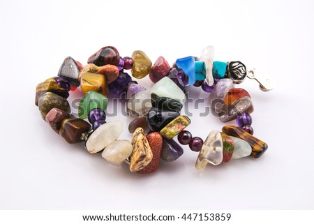 Do it yourself,  stone beads in white photo frame , isolated on white background - stock photo