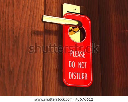Do not disturb sign on a hotel door handle, 3d illustration - stock photo