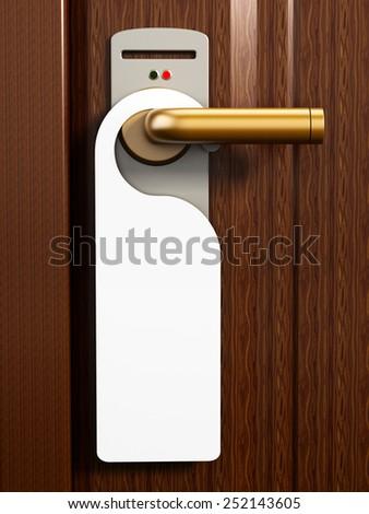Do not disturb sign on the hotel room door - stock photo