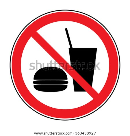 Do not eat and drink icon. No food or drink symbol isolated on white background. No eating and no drinks allowed. Red circle prohibition sign. Stop flat symbol. Stock  - stock photo