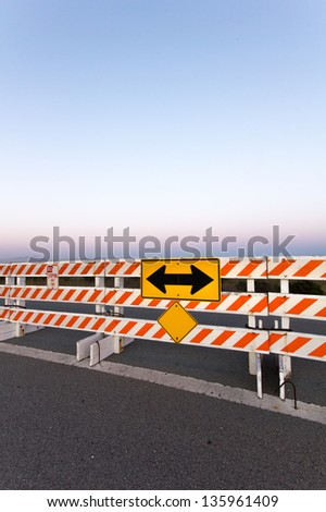 Do Not Enter Barricade and Sign on Vertical - stock photo