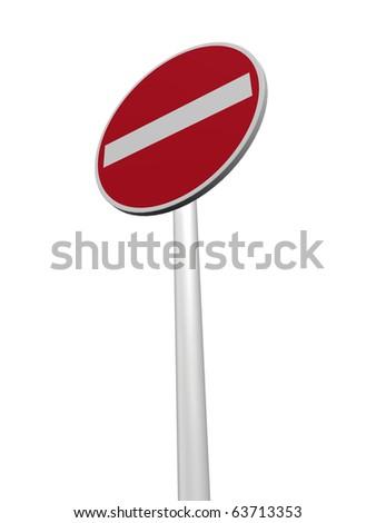 do not enter - roadsign on white background - 3d illustration - stock photo