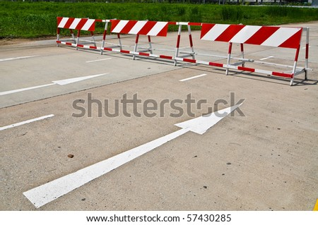 Do not enter signs with white arrow - stock photo