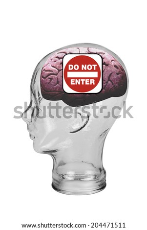 Do not enter this brain. - stock photo