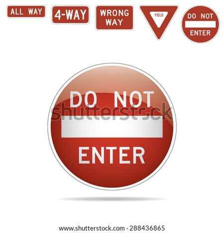 Do not enter 4-way all way wrong way yeld traffic signs illustration. Raster version - stock photo