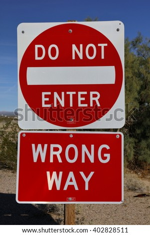 DO NOT ENTER - WRONG WAY Interstate highway 15 Road Sign upon freeway onramp  - stock photo