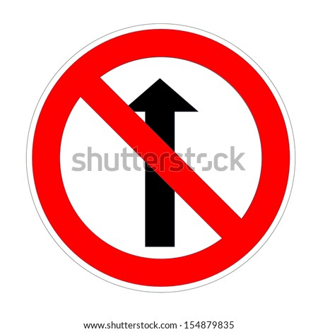 Do not go straight sign in white background - stock photo