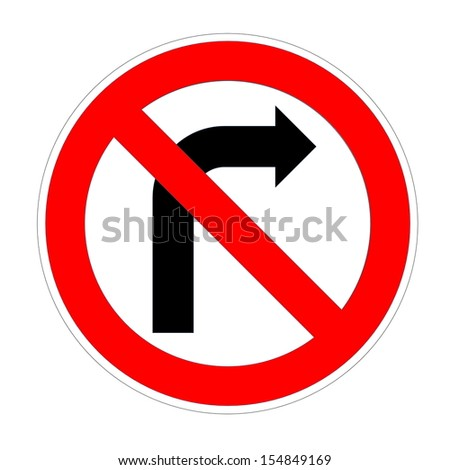 Do not turn right sign in white background - stock photo