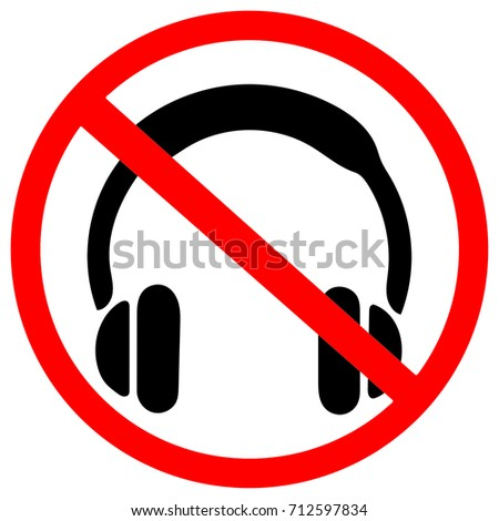 Do Not Use Headphone Warning Prohibition Stock Illustration