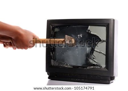 Do not waste your time, destroy your TV - stock photo