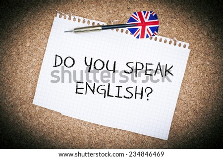 Do You Speak English / English Education Learning Concept with British Flag Arrow - stock photo
