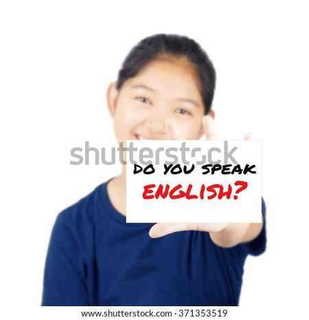 Do you speak english message on white card concept with young woman smile - stock photo