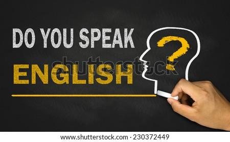 do you speak english on blackboard background - stock photo