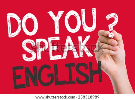 Do you speak English written on the wipe board - stock photo