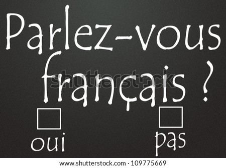 do you speak french ? title  written in french - stock photo