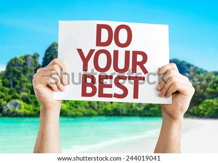 Do Your Best card with a beach on background - stock photo