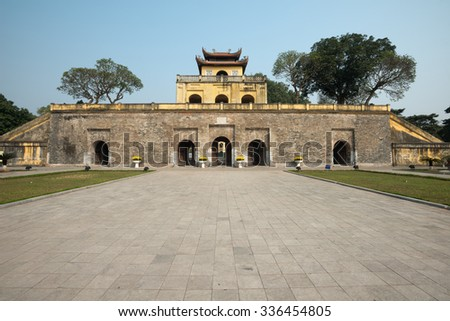 Doan Mon Gate, Imperial Citadel of Thang Long in Hanoi, Vietnam - stock photo