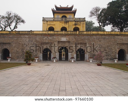 Doan Mon Gate, Imperial Citadel of Thang Long in Hanoi, Vietnam - A UNESCO World Heritage Site - stock photo