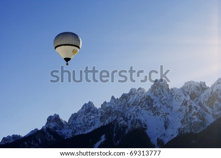 DOBBIACO, ITALY - JANUARY 15: Hot Air Balloon Festival in the Italian Dolomites January 15, 2011 In Dobbiaco, Trentino-South Tyrol - Italy