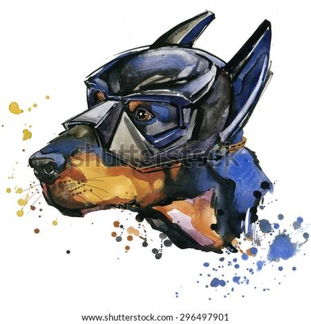 Doberman dog Super man T-shirt graphics. Doberman dog illustration with splash watercolor textured  background. unusual illustration watercolor dog for fashion print, poster, textiles, fashion design - stock photo