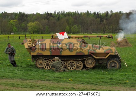 DOBRANY, CZECH REPUBLIC - MAY 1, 2015: German armored vehicle SdKfz 251. Liberation festival to 70th Anniversary of the Liberation by the US Army and the End of the Second World War in Europe. - stock photo