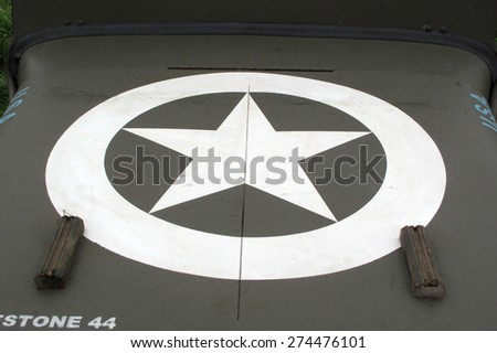 DOBRANY, CZECH REPUBLIC - MAY 1, 2015: Jeep Willys car bonnet with American star. Liberation festival to 70th Anniversary of the Liberation by the US Army and the End of the Second World War in Europe - stock photo