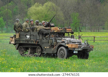 DOBRANY, CZECH REPUBLIC - MAY 1, 2015: M3 Half-track with crew. Liberation festival to 70th Anniversary of the Liberation by the US Army and the End of the Second World War in Europe. - stock photo