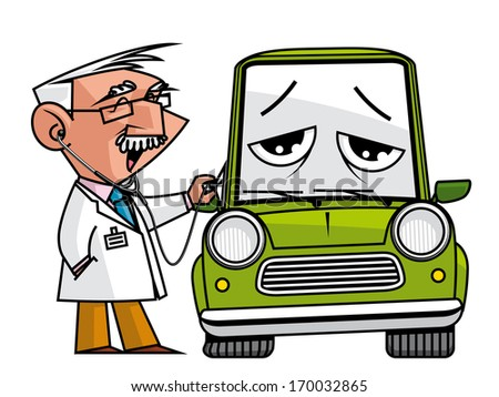Doc mechanic auscultating the automobile - stock photo