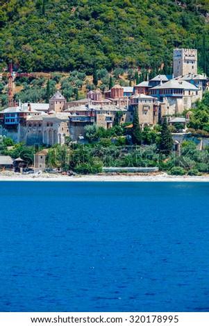 Dochiariou Monastery, Athos Peninsula, Mount Athos, Chalkidiki, Greece - stock photo
