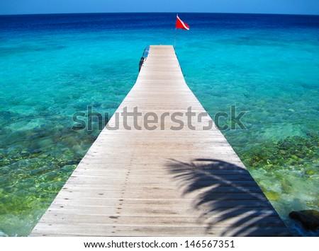 Dock and Tropical Ocean, Curacao - stock photo