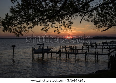 Dock area at sunset