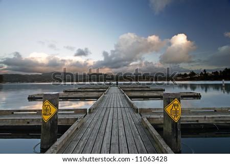 Dock at Devil's Lake State Park in Oregon, USA. - stock photo
