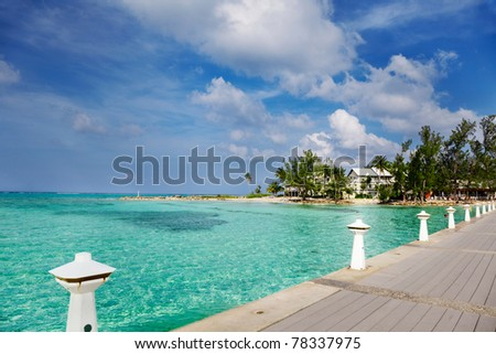 Dock at Rum Point, Grand Cayman - stock photo