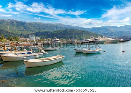 Dock for boats and yachts Budva in a beautiful summer day, Montenegro