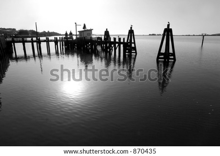 Dock in Black and White - stock photo