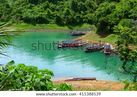 Dock in Ratchaprapha Dam. Thailand