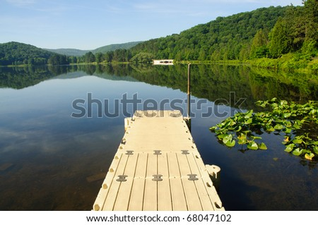 dock in Red House Lake - stock photo