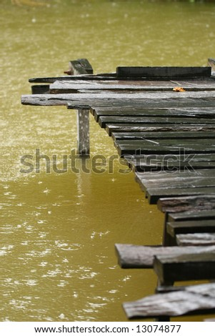 dock in the rain