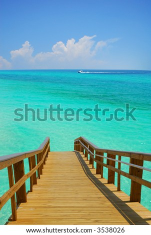 Dock Leading to Turquoise Sea