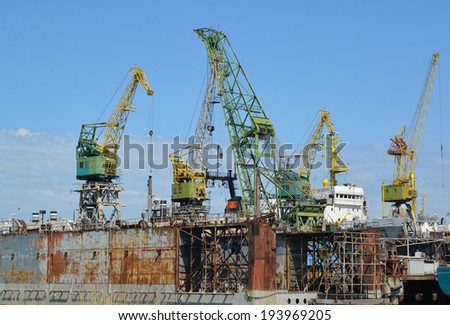 Dock of ship-repair plant  - stock photo