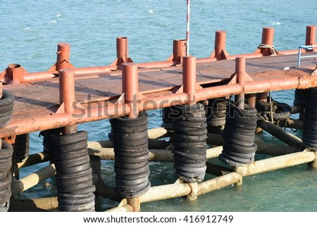 Dock tire bumpers - stock photo