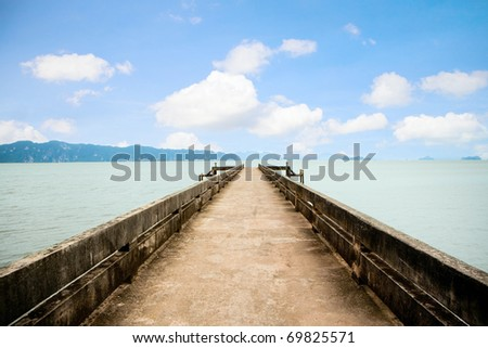 Dock to the ferry pier. - stock photo