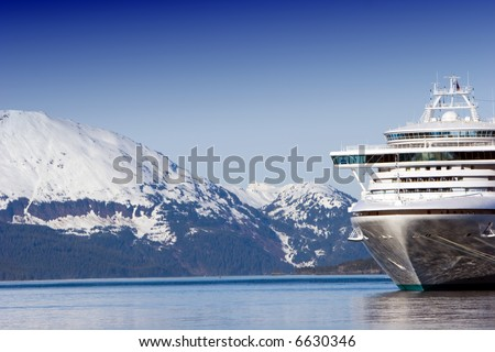 Docked Alaskan cruise ship - stock photo