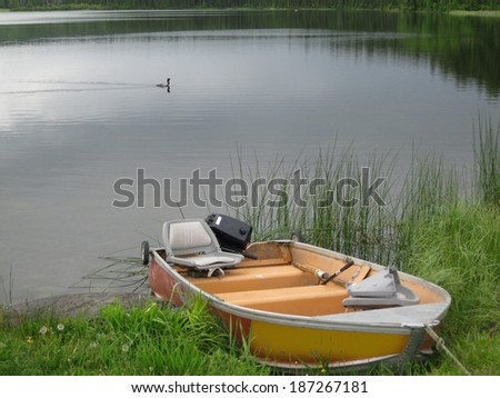 Docked boat - stock photo