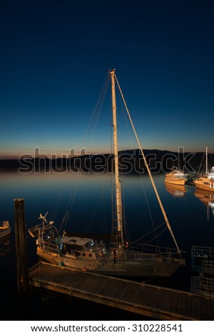 Docked Boat at Night Canada - stock photo